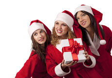 Santas with a gift box Stock Image
