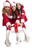 Santas with a gift box Royalty Free Stock Images