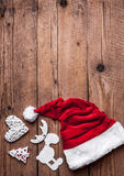 Santas hat, Christmas set, gift and Christmas tree. Celebration Royalty Free Stock Photo