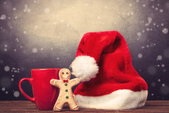 Santas hat and cup Stock Photo