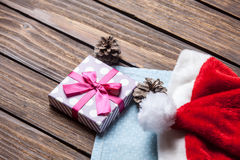Santas hat and gift Stock Photography