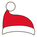 Santas hat of Merry Christmas design. Santas hat icon. Merry Christmas season decoration figure theme. Isolated design. Vector illustration Stock Image