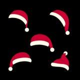 Santas hats set Royalty Free Stock Images