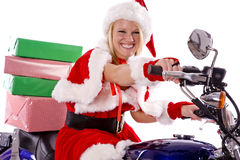 Santas Helper Delivering Gifts On Motorcycle Royalty Free Stock Image