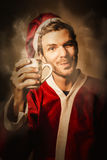 Santas helper drinking hot christmas coffee Royalty Free Stock Image