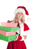 Santas helper holding presents looking Stock Images