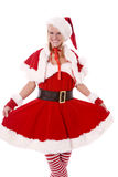 Santas helper holding skirt Royalty Free Stock Images