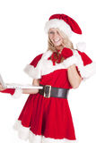 Santas Helper Laptop Thinking Stock Photography