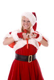 Santas helper scolding with smile Stock Photos