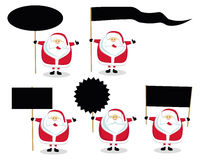Santas holding different blank signs Stock Images