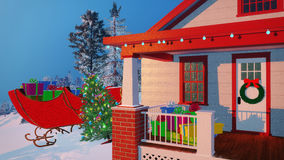 Santas house decorated for Christmas Close up Royalty Free Stock Photos