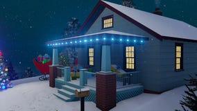 Santas mieścą dekorują dla bożych narodzeń przy nocą 4K royalty ilustracja