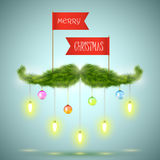Santas moustache vector illustration. Santa moustache made of  fir decorated by garlands, balls and paper flags with Merry Christmas greeting Stock Images