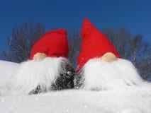 Santas op SneeuwHelling Stock Foto's