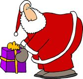 Santas package. This illustration that I created depicts Santa picking up a wrapped box Royalty Free Stock Image