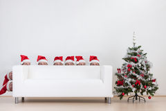 Santas peeking  Stock Photos