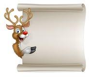 Santas Reindeer Cartoon Christmas Sign Stock Photography