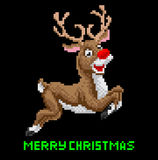 Santas Reindeer Christmas Pixel Art Royalty Free Stock Photo