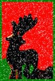 Santas Reindeer In Snow, Christmas Art. Santas Reindeer in Green and Red, Modern Art Royalty Free Stock Photography