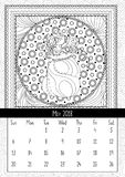 Santas sack with candy and gifts, calendar may 2018. Doodle christmas bag full of sweets coloring book page for adults and kids. Black and white thin line art Stock Photos