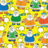 Santas and sheep seamless pattern Stock Photos