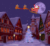 Santas släde Arkivbild