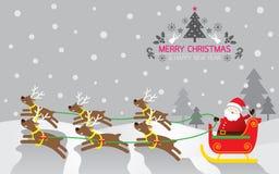 Santas släde, ren, bakgrund Royaltyfri Illustrationer