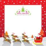 Santas släde, ren, ram & bakgrund Vektor Illustrationer