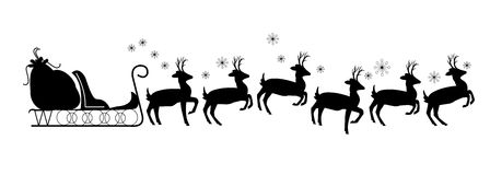Santas sled with reindeer. Santa sled with reindeer in silhouette with no Santa stock illustration