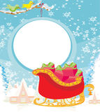 Santas Sledge. With Christmas presents, Vector Illustration Royalty Free Stock Photo