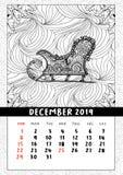 Santas sledge coloring book page, calendar December 2019. Traditional Christmas and yuletide symbol in coloring book page form. Handdrawn image in outline stock illustration