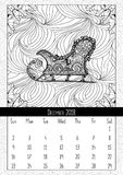 Santas sledge coloring book page, calendar December 2018. Traditional Christmas and yuletide symbol in coloring book page form. Handdrawn image in outline Royalty Free Stock Images