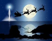 Santas Sleigh i månsken Arkivbild