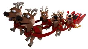 Santas sleigh and reindeer Royalty Free Stock Image