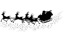 Santas sleigh silhouette. Illustrated silhouette of santa claus in the sleigh with his reindeer´s Stock Images