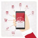 Santas smartphone Arkivbilder