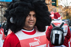 Almost 10.000 Santas take part in the Babbo Running in Milan, Italy Royalty Free Stock Photos