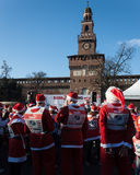 Almost 10.000 Santas take part in the Babbo Running in Milan, Italy Stock Photography