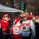 Almost 10.000 Santas take part in the Babbo Running in Milan, Italy Royalty Free Stock Images