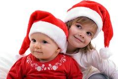 santas två barn Arkivfoto