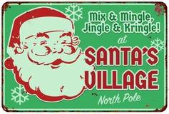 Santas Village Santas Workshop Party Invitation Sign. Holiday Christmas Party Office North Pole Mingle vintage tin plaque stock illustration