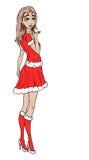 Santas wife wishing you a merry christmas Stock Photos