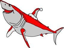 Santashark. Vector  - Santa shark  isolated on white background Stock Image