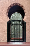 Sante Fe gateway. The side gate entrance to a garden at the Scottish church in Sante Fe, New Mexico stock photo
