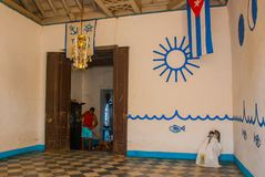 Santeria Israel, Trinidad, Cuba. The santeria is the religion of afro-Cuban people in Cuba. The interior of the temple of Santeria.  stock photo