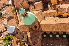 Santi Bartolomeo e Gaetano church. View from Torre (Tower) Asinelli, Bologna, Italy Stock Image