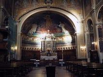 Santi Cosma e Damiano in Rome. The mosaics, with the parousia of Christ, among saints. Basilica of Santi Cosma e Damiano in Rome Royalty Free Stock Photography