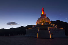 Santi Stupa in Leh at Night Stock Image