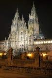 Santiago. Cathedral. Photo shot at night Royalty Free Stock Images