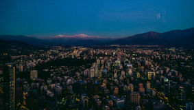 Santiago aerial View from the Costanera Center at Sunset, Santia Royalty Free Stock Photography